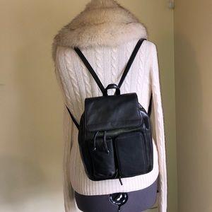 Cherokee Black Pebbled Leather Backpack purse
